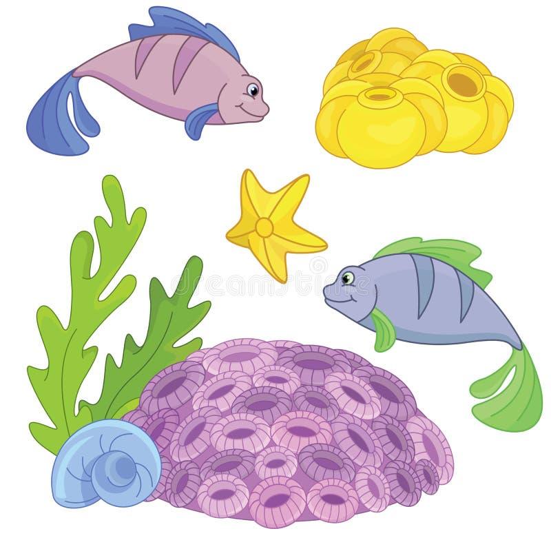 Nell'ambito dell'insieme del mare illustrazione vettoriale