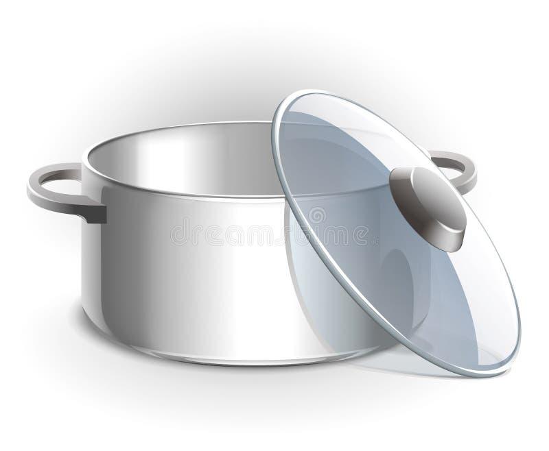 Vaso vuoto del metallo con il coperchio illustrazione vettoriale