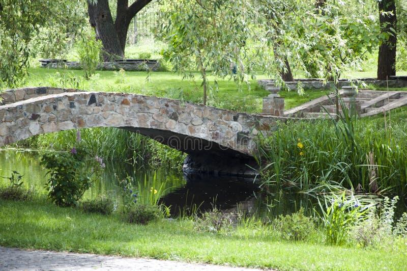 In armonia con la natura Parco panoramico Ponte di pietra nel paesaggio estivo Ponte antico di pietra in giardino botanico Paesag immagine stock