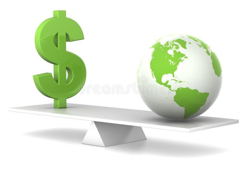 Nell'equilibrio - dollaro e terra illustrazione vettoriale