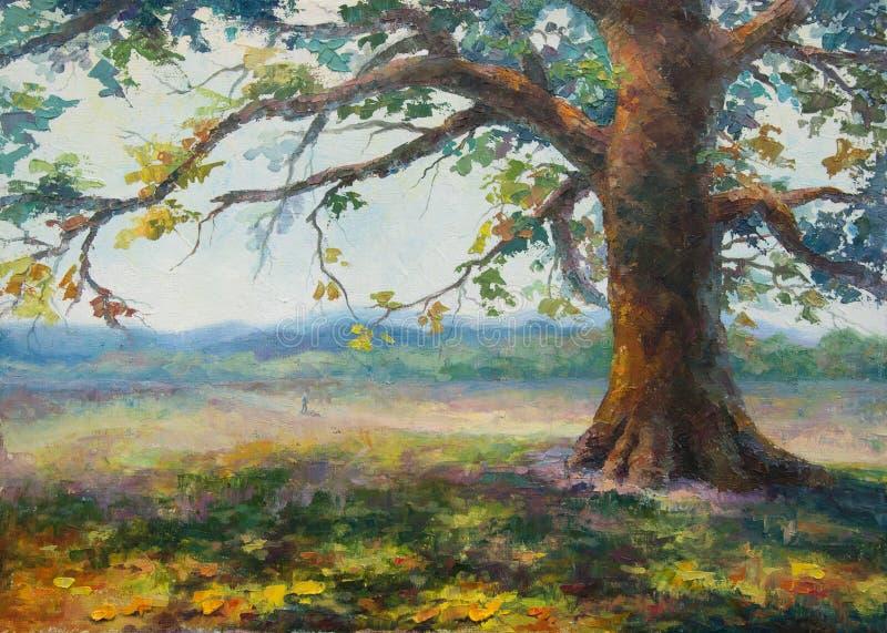 Nell'ombra di vecchia quercia sola illustrazione vettoriale