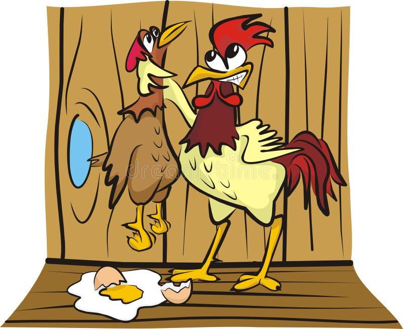 Nella casa di gallina - discutendo illustrazione vettoriale