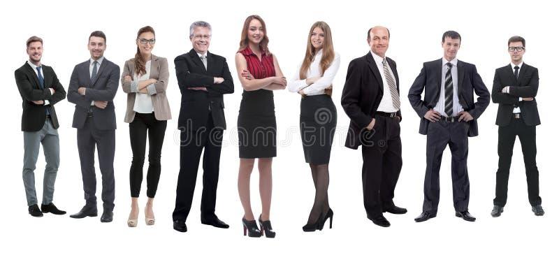 Nella piena crescita gruppo professionale di affari isolato su bianco immagini stock