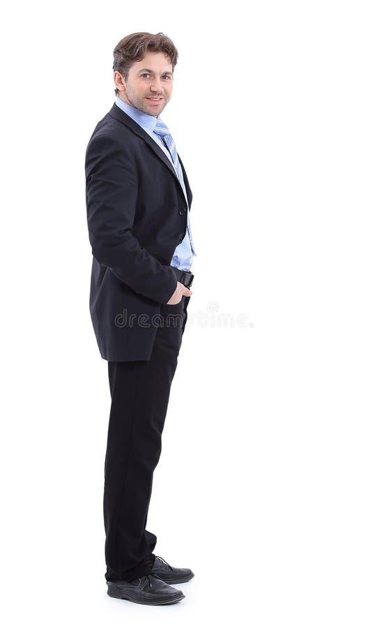 Nella piena crescita Vista laterale Uomo d'affari bello sorridente immagine stock libera da diritti