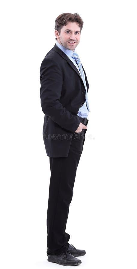 Nella piena crescita Vista laterale Uomo d'affari bello sorridente fotografia stock