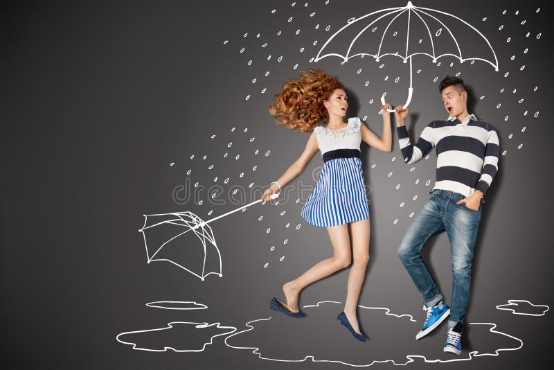 Nella pioggia illustrazione vettoriale