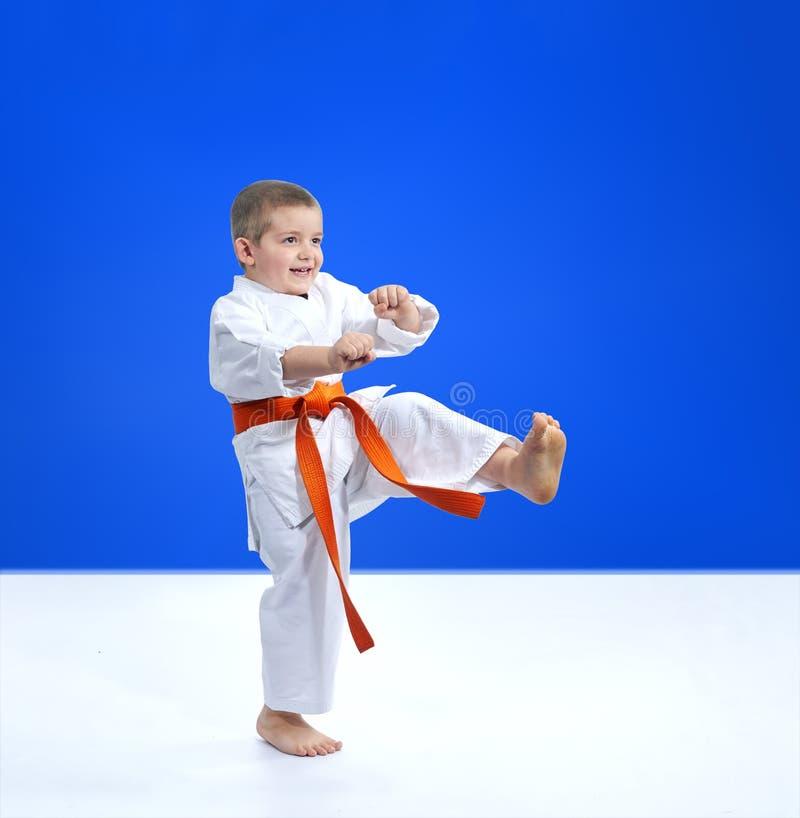 Nella respinta dei battiti del ragazzo di karategi fotografia stock libera da diritti