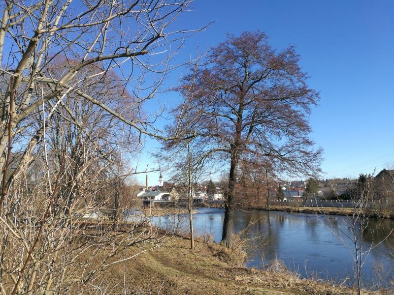 Nella valle di Zschopau in Sassonia, Germania fotografie stock libere da diritti