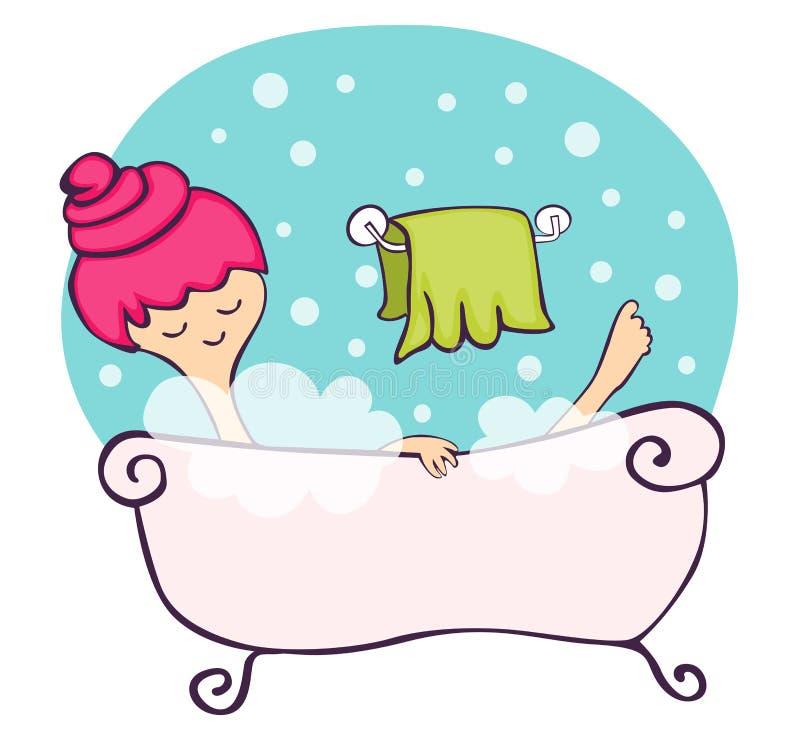 Nella vasca da bagno illustrazione vettoriale