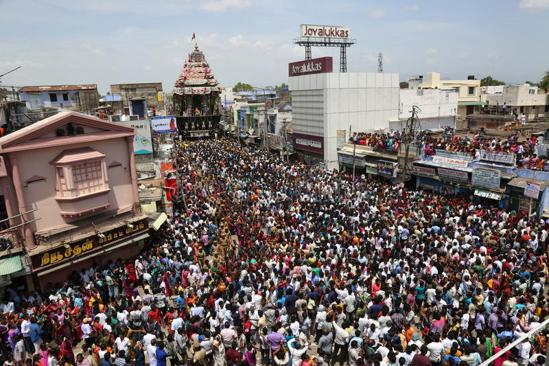 Nellaiappar temple car festival tirunelveli tamilnadu india. 30 jun 2015 tirunelveli tamilnadu INDIA. people gathered to pull the temple car from the temple and royalty free stock image