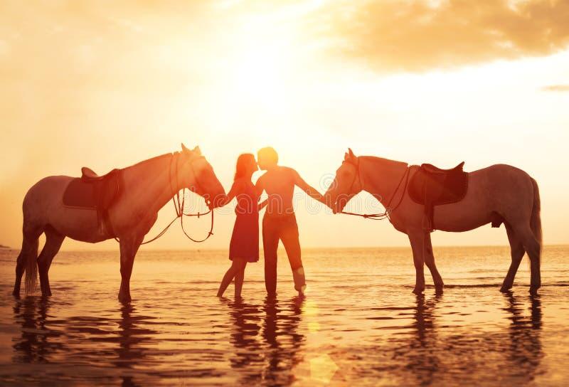 Nelle coppie di amore che baciano sulla spiaggia Due cavalli al tramonto, summe fotografia stock libera da diritti