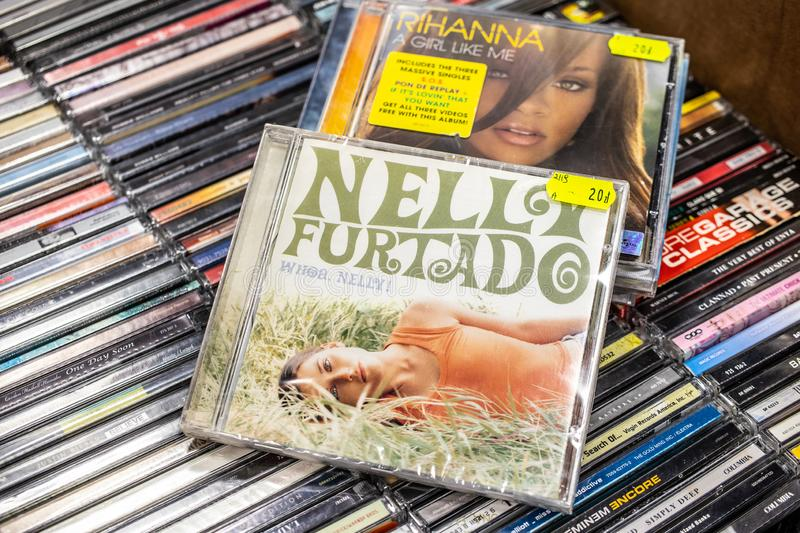 Nelly Furtado CD album Whoa, Nelly! 2000 on display for sale, famous Canadian singer and songwriter, stock images