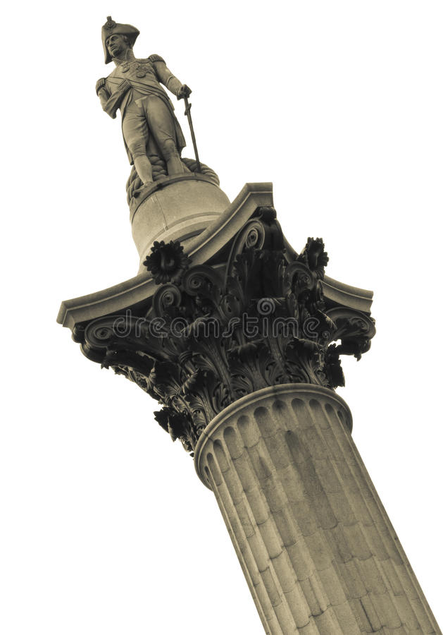 Nelson�s Column. Rises to nearly 185 feet in the centre of Trafalgar Square and was erected to celebrate his great victory at Trafalgar over Napoleon in stock image