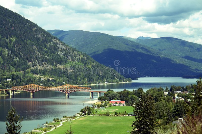 Nelson, British Columbia. Lookout view of Nelson, Canada on the kooteney Lake stock images