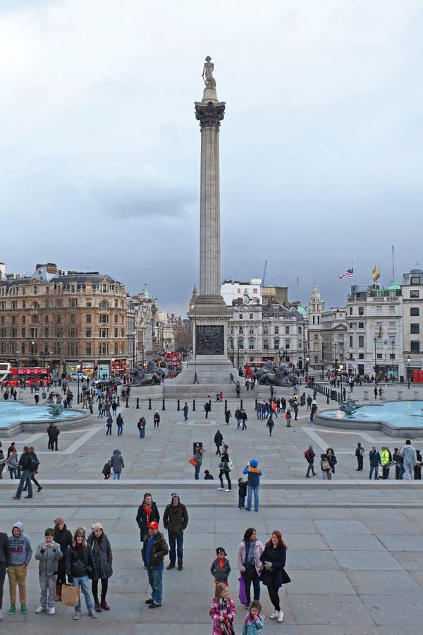 Nelson Column London Winter photos libres de droits