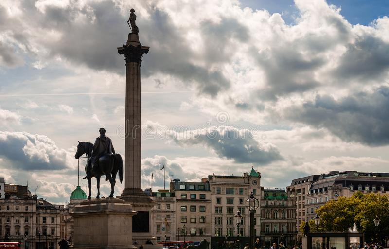 Nelson e rei George em Trafalgar Square fotografia de stock