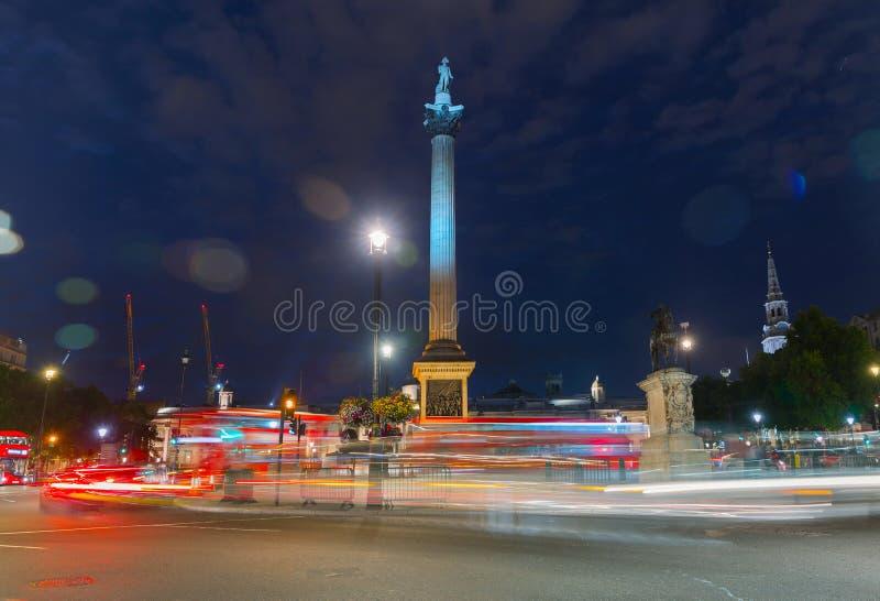 Nelson kolumna na Trafalgar Square w Londyński UK obraz royalty free