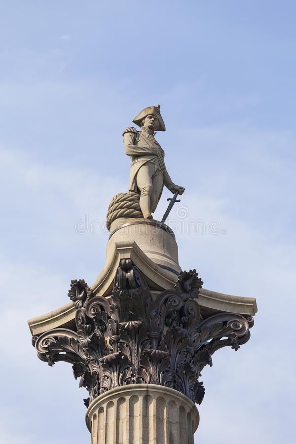 Nelson kolumna, statua Admiral Nelson, Trafalgar kwadrat, Londyn, Zjednoczone Królestwo zdjęcie stock