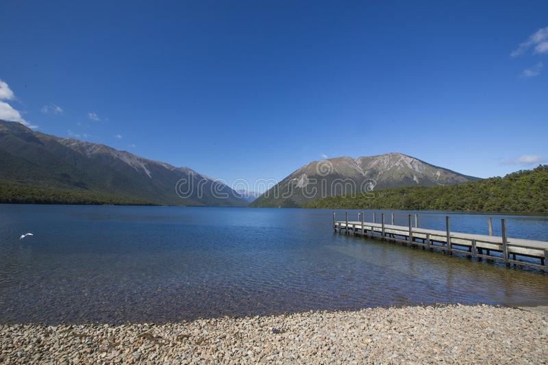 Nelson Lakes Pontoon sikt royaltyfri fotografi
