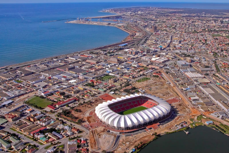 Nelson Mandela bay from the air royalty free stock photography