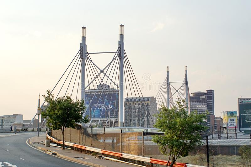 Nelson Mandela bridge into Braamfontein stock photos