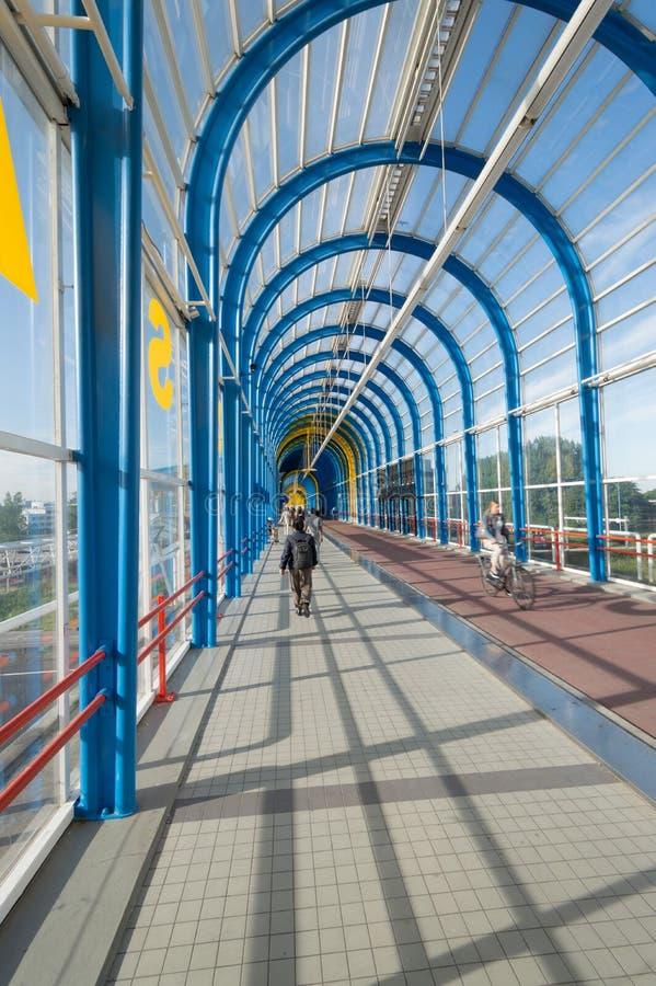 Nelson Mandela bridge trainstation Zoetermeer stock photography