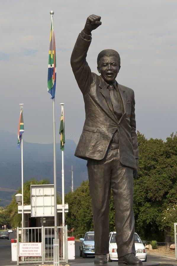 Nelson Mandela celebrating freedom. Statue of Nelson Mandela at the Groot Drakenstein prison near the town of Franschhoek, Western Cape, South Africa