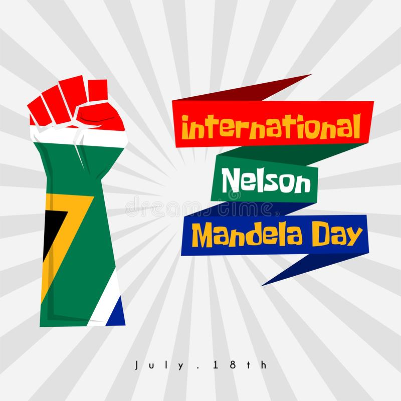 Nelson Mandela Day stock illustrationer