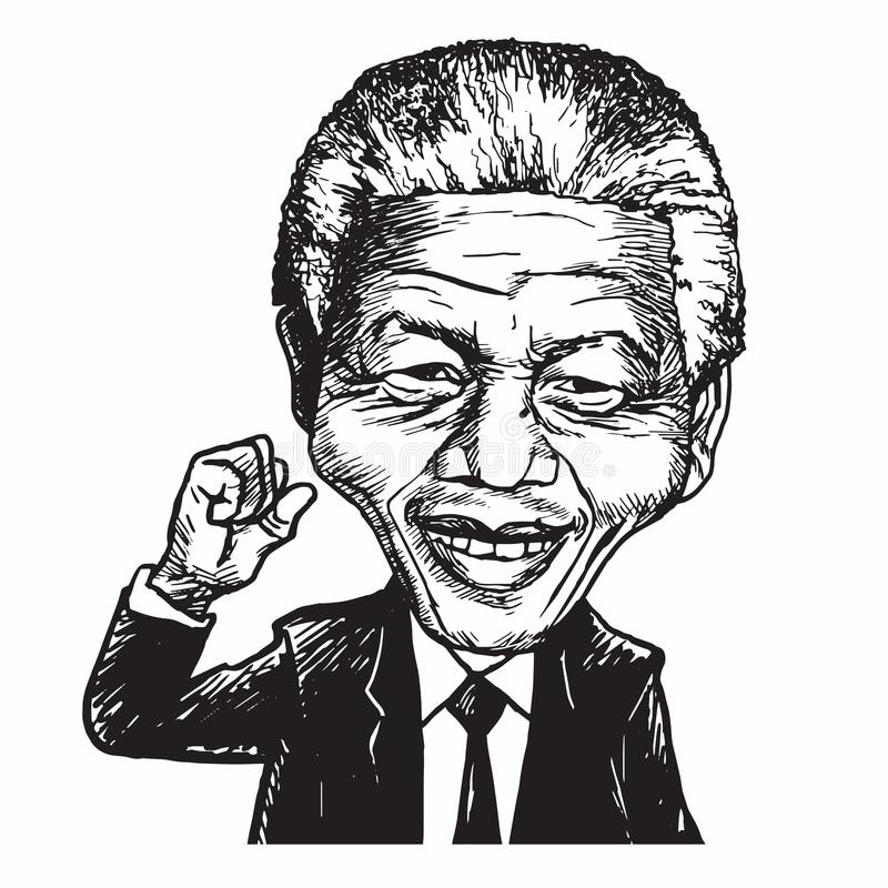 Nelson Mandela kreskówki karykatury wektoru ilustracja ilustracji
