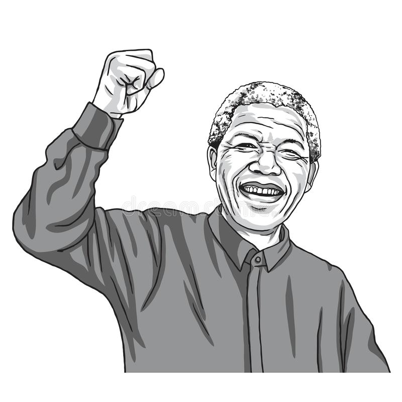 Nelson Mandela Madiba Cartoon Caricature vektorillustration September 11, 2017