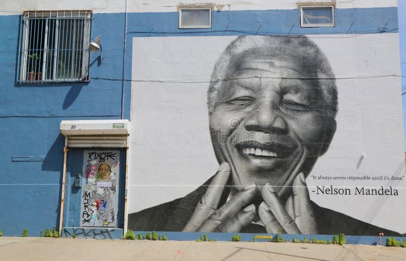 Nelson Mandela malowidło ścienne w Williamsburg sekci w Brooklyn obrazy stock
