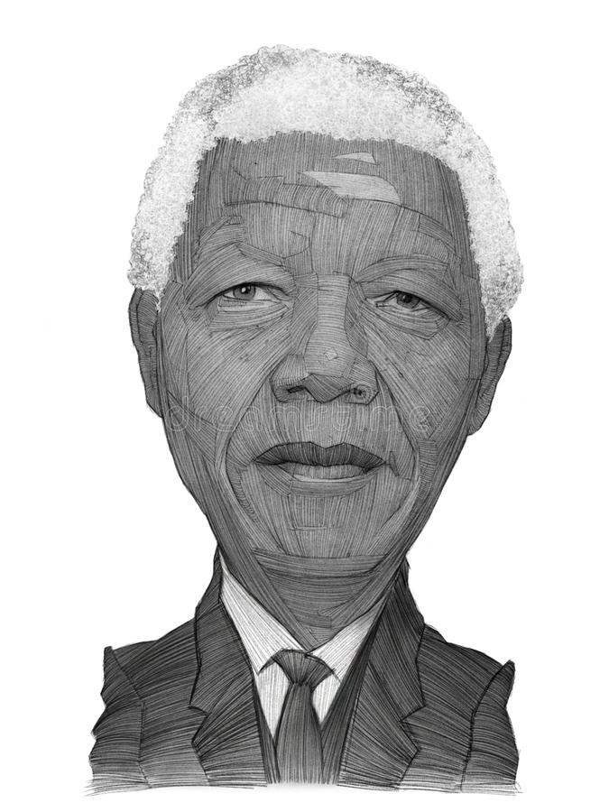 Nelson Mandela Portrait Sketch. For editorial use