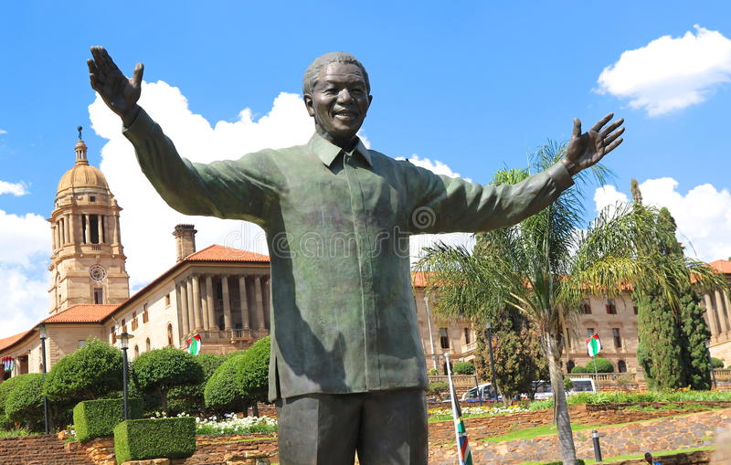 Nelson Mandela sculpture. Tribute to Nelson Mandela at Pretoria for what he did for Blacks rights in South Africa royalty free stock photos
