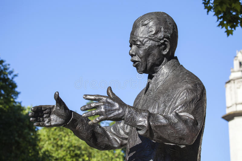 Nelson Mandela Statue in London. Staue of historic South African leader Nelson Mandela in Parliament Square, London stock images