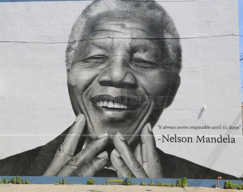 Nelson Mandela-Wandgemälde in Williamsburg-Abschnitt in Brooklyn lizenzfreies stockfoto