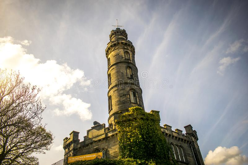 Nelson Monument auf Calton-Hügel in Edinburgh, Schottland stockfoto
