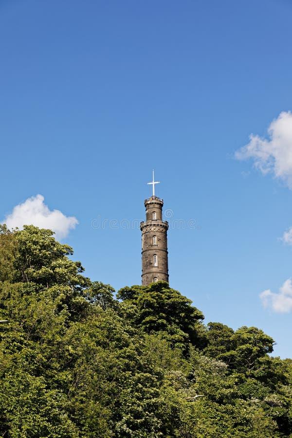 Nelson monument i Calton Hill - Edinburgh, Skottland arkivbilder