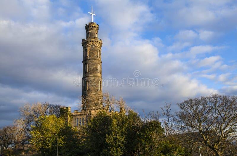 Nelson Monument i Edinburg arkivbild