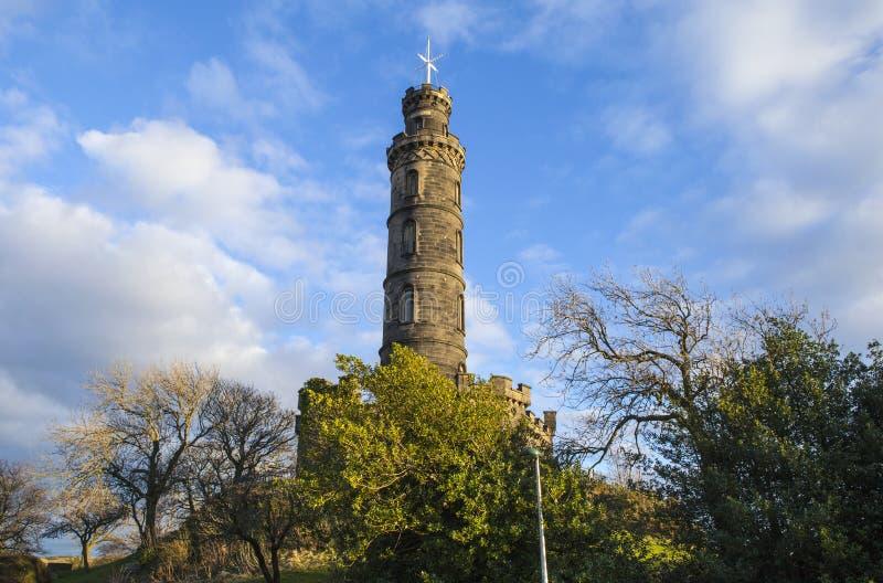 Nelson Monument i Edinburg fotografering för bildbyråer