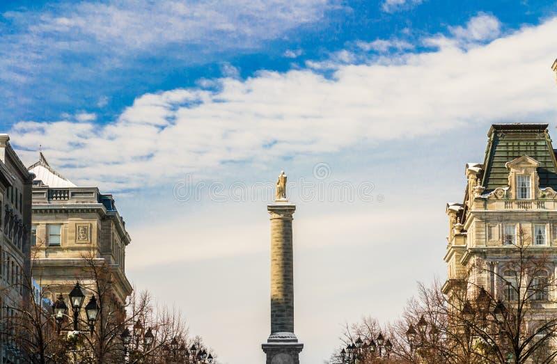 Nelson monument i Montreal arkivfoton