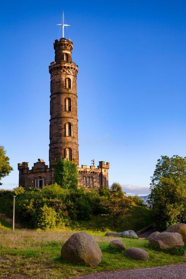 Nelson Monument på den Calton kulleEdinburg Skottland UK fotografering för bildbyråer