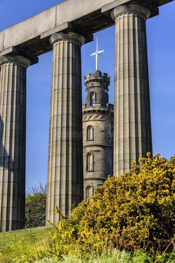 Nelson Monument på den Calton kullen, Edinburg arkivbilder