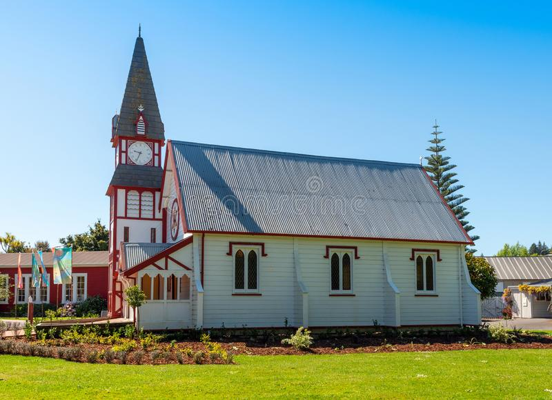 NELSON, NEW ZEALAND - OCTOBER 16, 2018: Wooden Church in Founders Park. Copy space for text royalty free stock photo