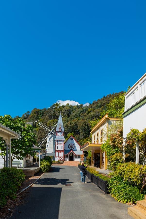 NELSON, NEW ZEALAND - OKTOBER 16, 2018: Wooden Church in Founders Park De ruimte van het exemplaar voor tekst royalty-vrije stock fotografie