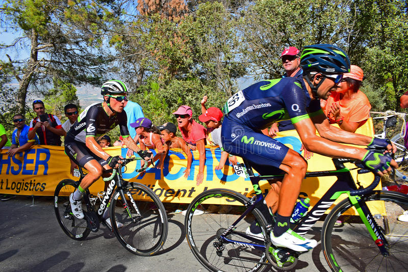 Nelson Olivera, Movistar Team, Leads Serge Pauwels, Team Dimension Data, In La Vuelta España Cycle Race. The riders battle it out near the mountain top finish stock photo