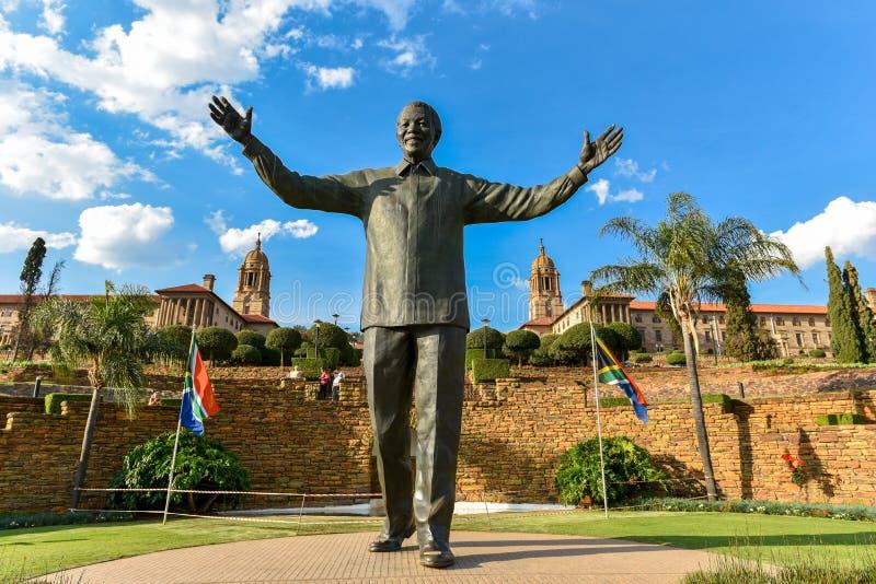 The Statue of Nelson Mandela at the Union Buildings, Pretoria, South Africa. Nelson Rolihlahla Mandela was a South African anti-apartheid revolutionary stock photos