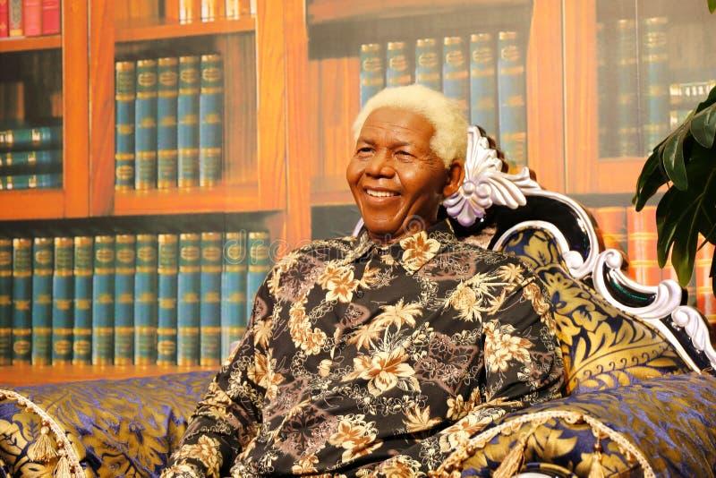 Nelson Rolihlahla Mandela, wasstandbeeld, wascijfer, waxwork royalty-vrije stock afbeeldingen