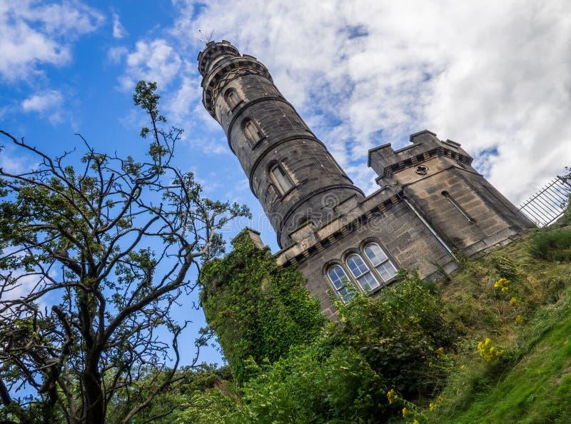 Nelson& x27; s-monument i Edinburg fotografering för bildbyråer