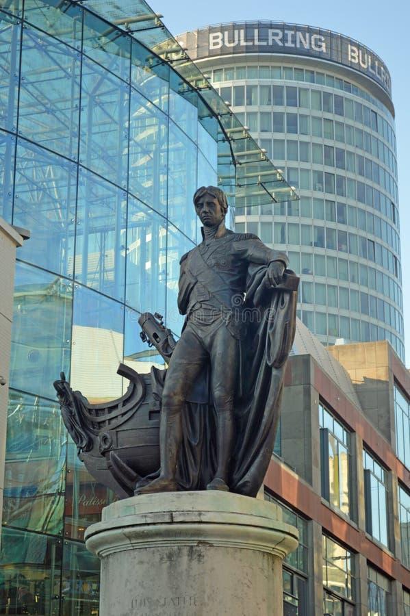 Nelson staty på tjurfäktningsarenan birmingham arkivfoton
