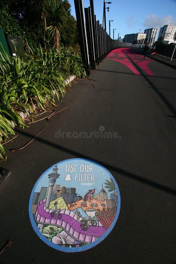 Nelson Street Cycleway, aka Lightpath, Auckland, Nieuw Zeeland stock foto
